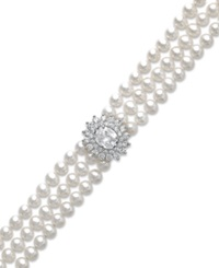 Arabella Cultured Freshwater Pearl 5Mm And Swarovski Zirconia Bracelet In Sterling Silver Black