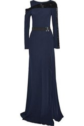 Amanda Wakeley Bead Embellished Cutout Crepe Gown Midnight Blue
