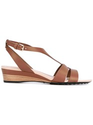 Tod's Wedge Sandals Women Calf Leather Leather Rubber 36 Brown