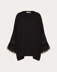 Valentino Feather Embroidery T Shirt Black 100 Cotone