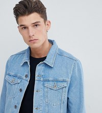 Jacamo Tall Stone Wash Denim Jacket Blue