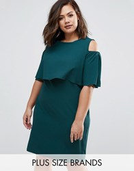Live In Love Plus Dress With Cold Shoulder Teal Green