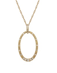 Lord And Taylor Diamond And 14K Yellow Gold Circle Pendant Necklace