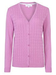 Tulchan Fine Cable V Neck Cardigan Pink