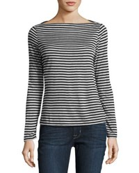 Nytt Striped Boatneck Jersey Tee Gray