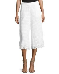 French Connection Holiday Lace Flared Cropped Trousers White