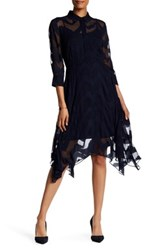 Donna Morgan Jacquard Shirtdress Blue