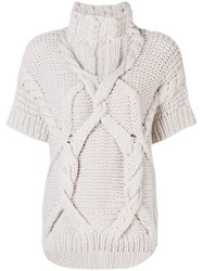 Lorena Antoniazzi Coarse Knitted Sweater Nude And Neutrals