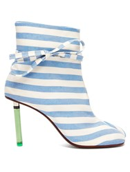 Vetements Geisha Striped Canvas Lighter Heel Ankle Boots Blue Stripe