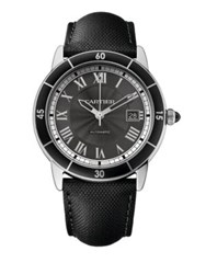 Cartier Ronde Croisiere De Automatic Stainless Steel And Leather Strap Watch Silver Black