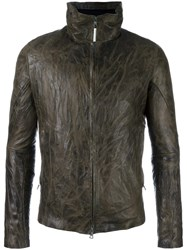 Isaac Sellam Experience Zipped Leather Jacket Brown
