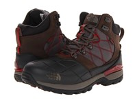 The North Face Snowsquall Mid Coffee Brown Biking Red Men's Cold Weather Boots Black