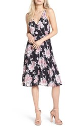 Leith Women's Surplice Floral Print Midi Dress Black Large Floral