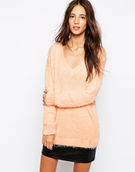 Pull And Bear Pullandbear Fluffy Jumper Pink