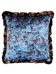 Preen By Thornton Bregazzi Tapestry And Floral Print Silk Cushion Blue Multi