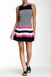 Necessary Objects Striped Flare Dress Pink