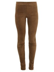 The Row Tomo Suede Slim Fit Trousers Mid Green