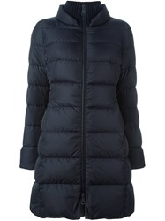 Herno Ribbed Detail Puffer Coat Blue