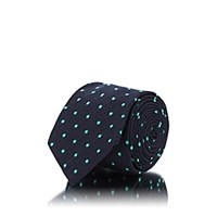 Drakes Dot Textured Silk Necktie Navy