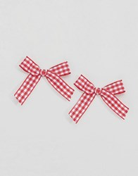 Asos Limited Edition Gingham Bow Stud Earrings Red Gold