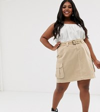 New Look Curve Cargo Skirt In Stone