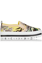 Msgm Leather Trimmed Floral Print Canvas Sneakers Yellow