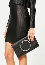 Missguided Black Circle Grab Handle Clutch Bag