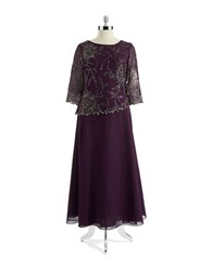 J Kara Plus Long Sleeved Mock Top Gown Plum Multi
