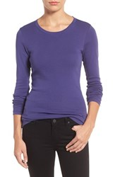 Caslonr Women's Caslon Long Sleeve Scoop Neck Cotton Tee Navy Ribbon