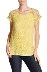 Cable And Gauge Crochet Cap Sleeve Tee Yellow