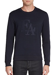 Emporio Armani Logo Embroidered Sweatshirt Navy