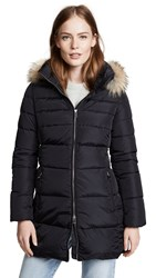 Add Down Hooded Coat With Fur Black