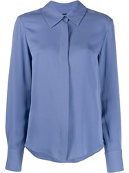 Tom Ford Silk Button Up Blouse Blue