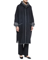 Eskandar Two Tone Hooded Woven Coat