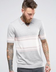 Asos Knitted Stripe Polo In Merino Wool Mix Grey