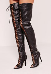 Missguided Lace Up Thigh High Gladiator Boot Black