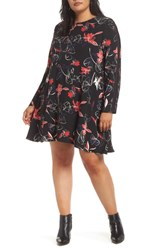 Halogen Plus Size Sleeve Inset Floral Dress Black Floral