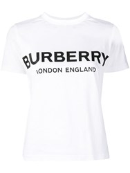 Burberry Logo Printed T Shirt White