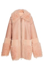 Prabal Gurung Oversized Shearling Coat Pink