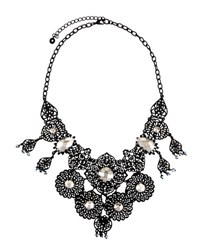 Lydell Nyc Filigree And Crystal Statement Bib Necklace Black