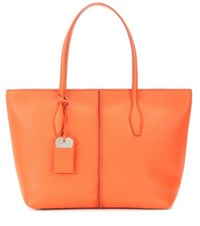 Tod's Joy Medium Leather Shopper Orange