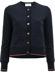 Thom Browne Embroidered Anchor Cardigan Blue