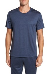Daniel Buchler Men's Silk And Cotton Crewneck T Shirt Navy Heather