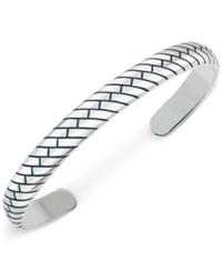 Esquire Men's Jewelry Patterned Cuff Bracelet In Sterling Silver First At Macy's