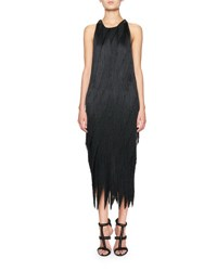 Tom Ford Bias Fringe Midi Dress W Leather Racerback Black