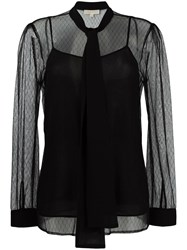 Michael Michael Kors Tied Neck Sheer Blouse Black