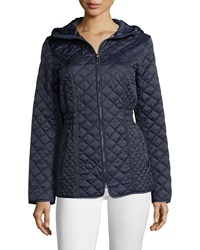 Laundry By Shelli Segal Quilted Cinch Waist Puffer Coat Mystic Blue