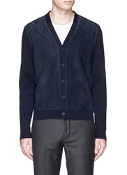 Faconnable Suede Front Wool Cardigan Blue