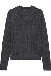 Frame Cable Knit Merino Wool Blend Sweater Charcoal
