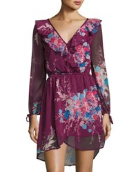 Band Of Gypsies Yoryu Bouquet Floral Faux Wrap Dress Dark Red